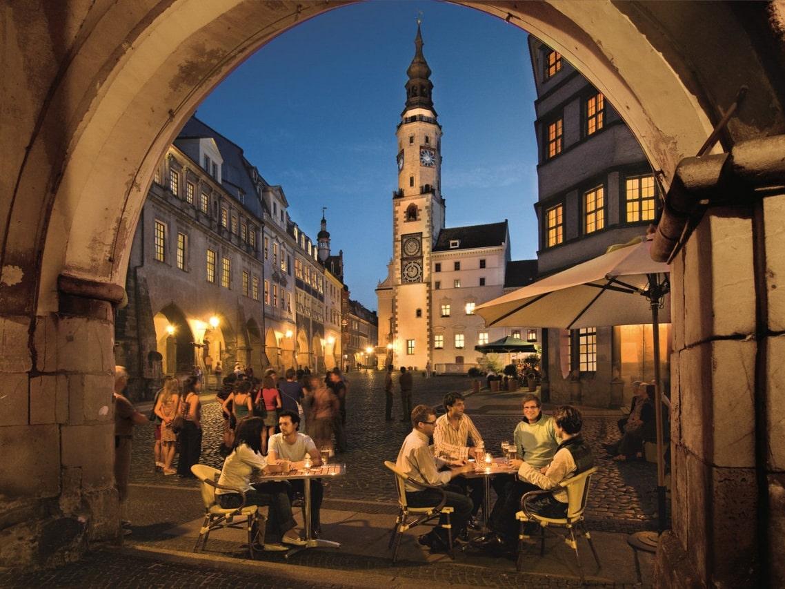 Innenstadt von Görlitz bei Nacht
