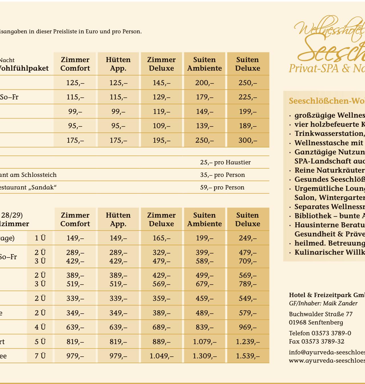 Preisliste des Wellnesshotels Seeschlößchen