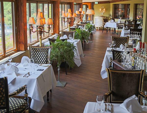 Begrünter Wintergarten im Restaurant Sandak