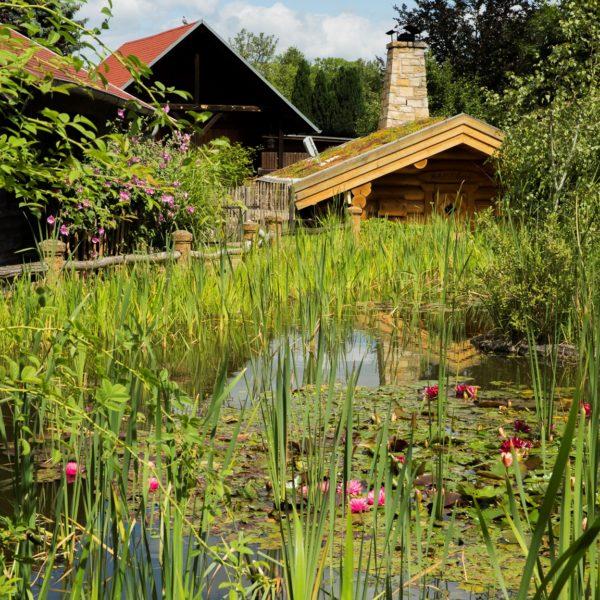 Wellnessgarten mit Seerosenteich und Blockhütte